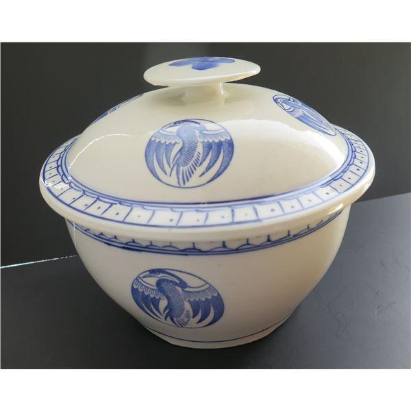 Lidded Porcelain Asian Rice Bowl, Blue & White