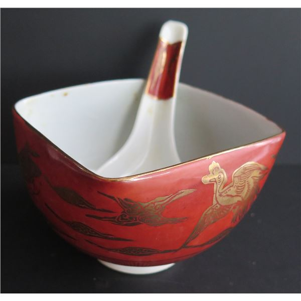 Chinese Ceramic Soup Bowl w/ Spoon, Red w/ Gilt Accents