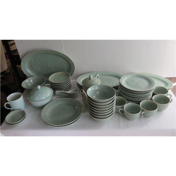 Asian Ceramic Tableware, Green, Incomplete