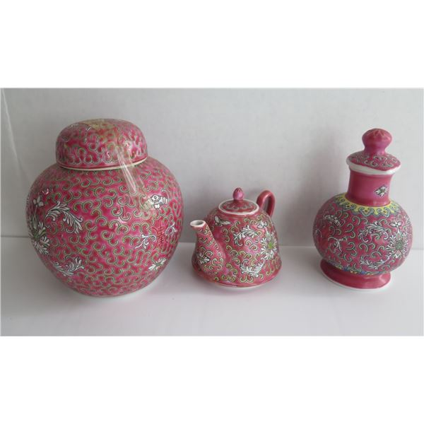Chinese Ginger Jar, Teapot, Lidded Vase