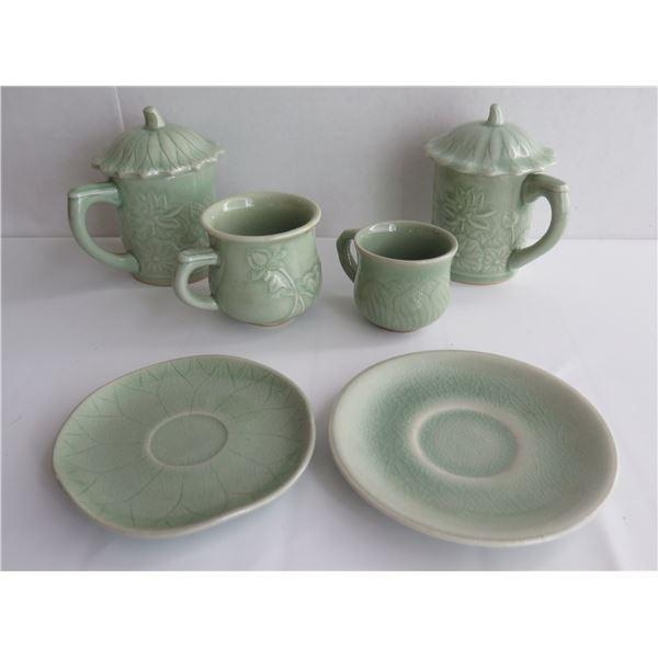Asian Ceramic Teacups, Saucers, Beverageware, Green