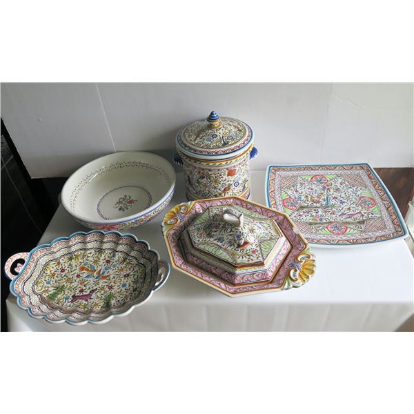 Qty 7 Ceramicas De Coimbra Portugal Pottery Serving Dishes, Handpainted Signed