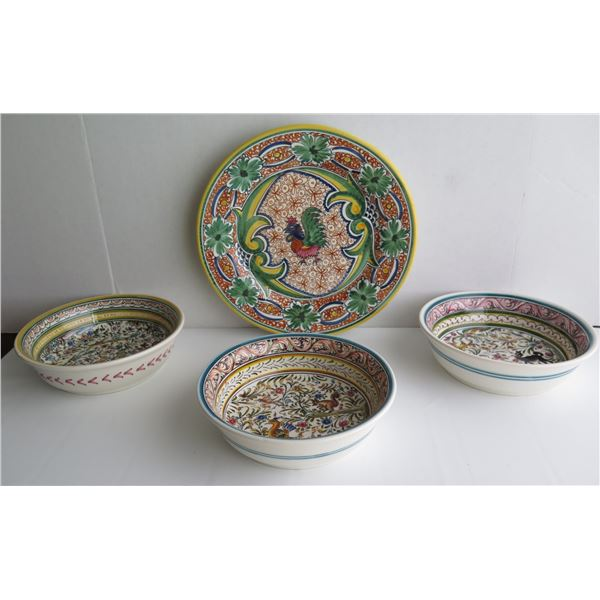 Qty 4 Ceramicas De Coimbra Portugal Pottery Serving Dishes, Handpainted Signed