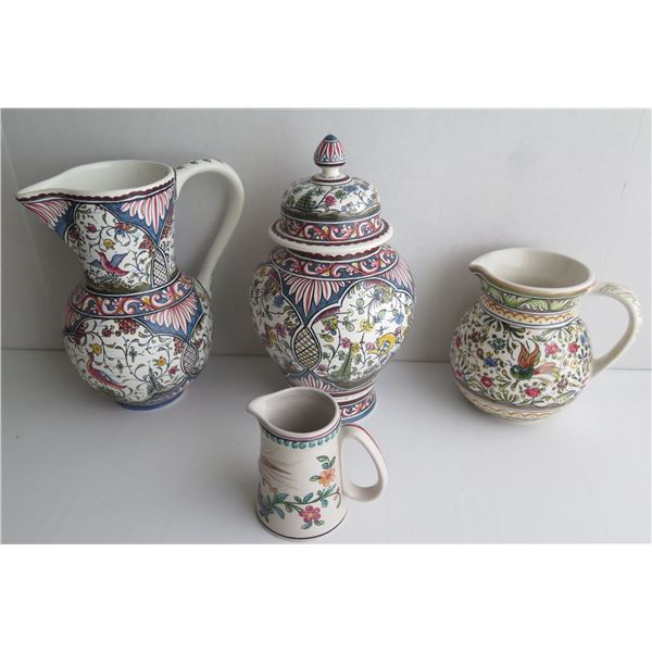 Qty 4  Portuguese Pottery Pitchers & Lidded Jar, Handpainted