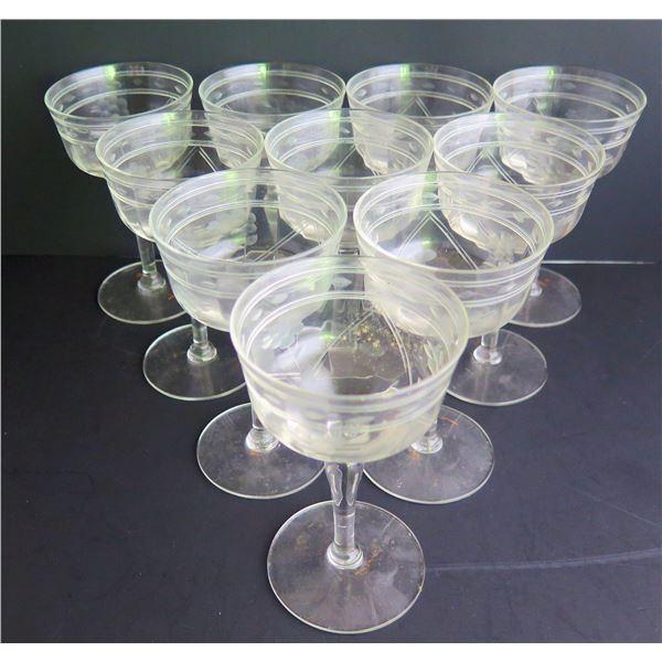 Qty 10 Etched Wine Glasses