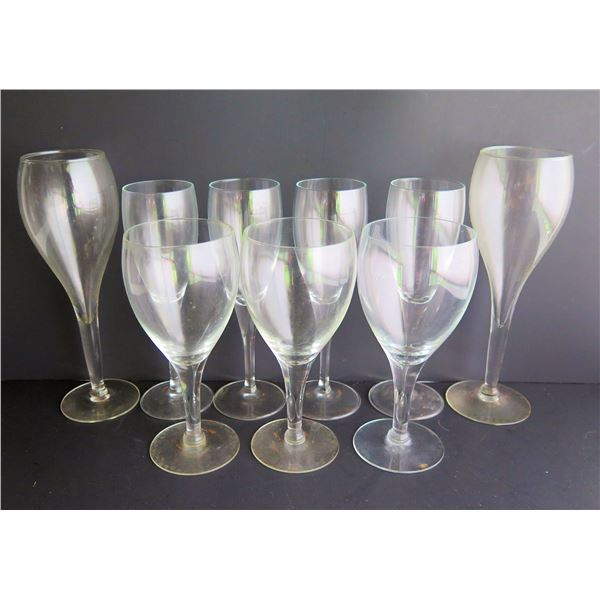 Qty 9 Clear Tulip Shaped Wine Glasses,  Various Sizes