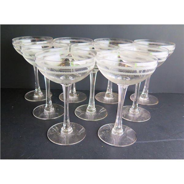 Qty 9 Etched Champagne Coupes