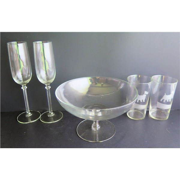 Qty 5 Glassware, Champagne Flutes, Water Glasses, Serving Bowl
