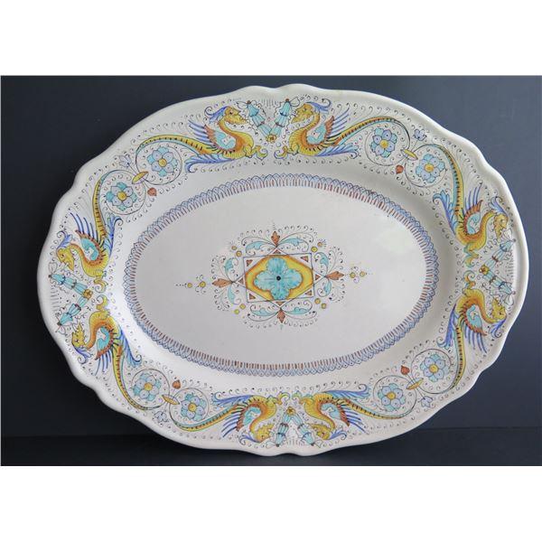 "Italian Serving Platter Signed D A Mano, Siena 14.5"" x 11"""