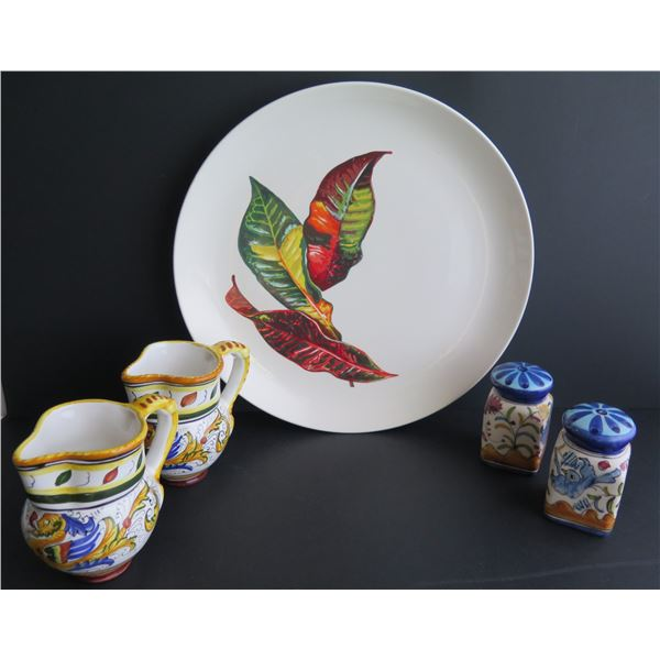 Ceramic Servingware, Plate (Santa Anita Ware), Sm. Pitchers (Italian), Salt & Pepper (Portugal)