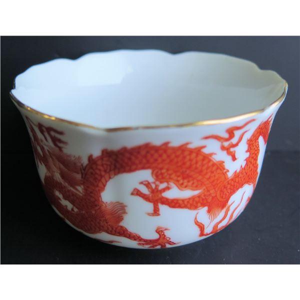Porcelain Bowl, Hong Kong White Orange w/Dragon Motif