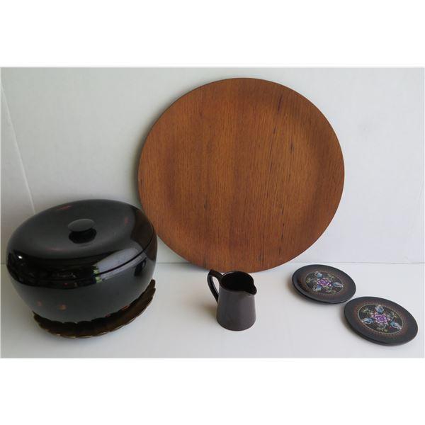 Qty 5 Servingware, Soup Bowl Set, Platter, Sm. Pitcher, Trivets