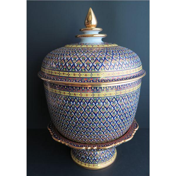 "Thai Benjarong Porcelain Lidded Bowl w/ Stand 12.5"" Tall"