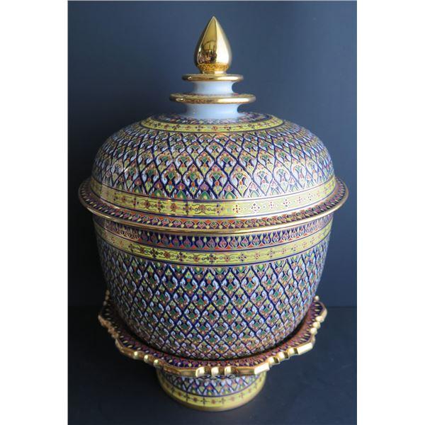 "Thai Benjarong Porcelain Lidded Bowl w/ Stand 12"" Tall"