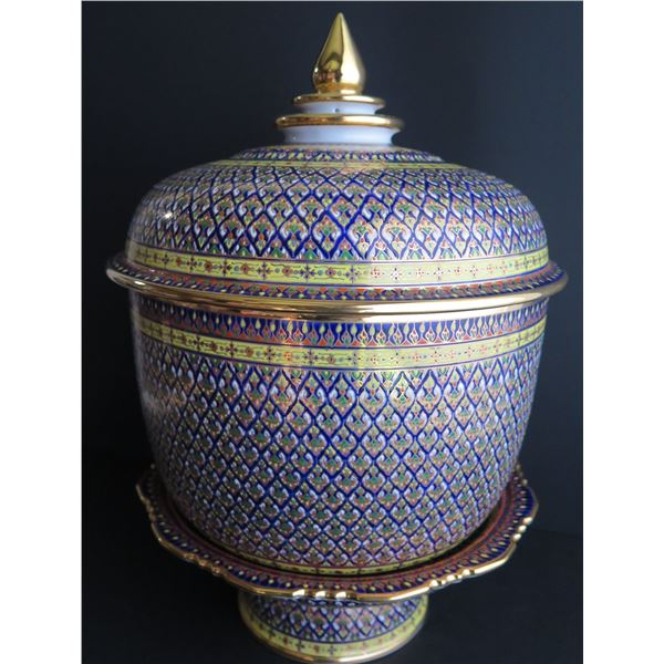 "Thai Benjarong Porcelain Lidded Bowl w/Stand 14"" Tall"