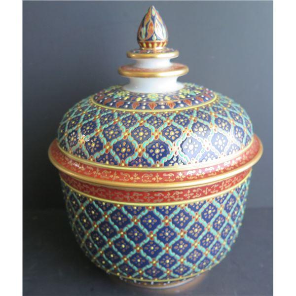 """Thai Benjarong Porcelain Lidded Bowl  7"""" Tall"""