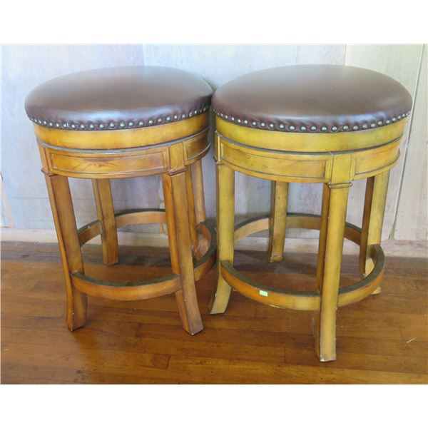"""Qty 2 Wood Upholstered Bar Stools  w/Curved Legs 24"""" Tall"""