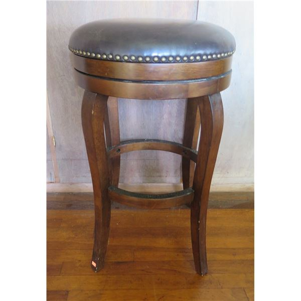 """Wood Upholstered Bar Stool w/Curved Legs 29"""" Tall"""