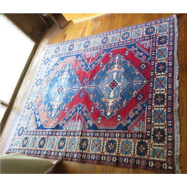 "Persian Rug, Geometric Pattern, Red Blue & White 78"" x 65"""