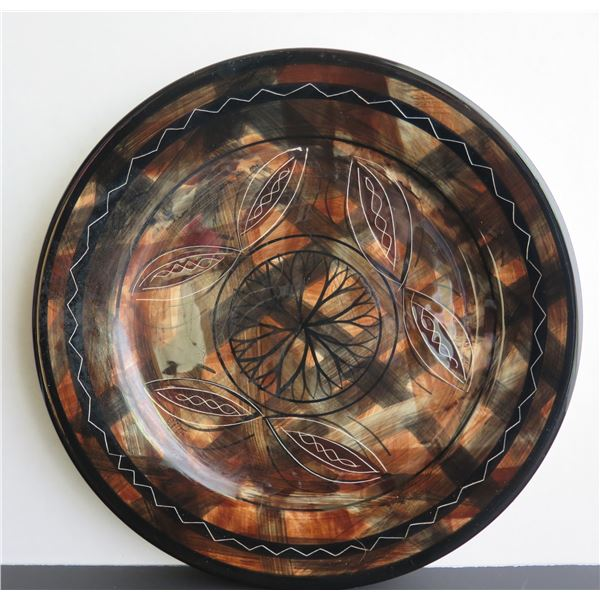 "Ceramic Platter, New Zealand, Brown Black White, 11"" Dia"