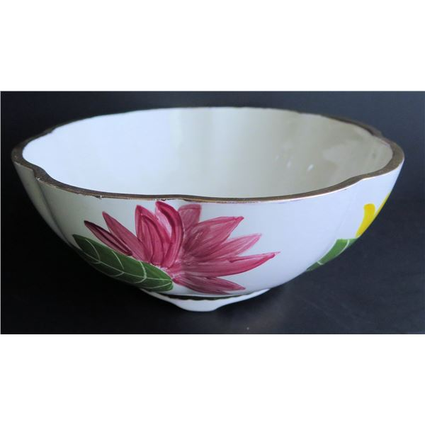 """Chinese Porcelain Bowl, Floral w/ Chinese Symbols 10"""" Dia"""