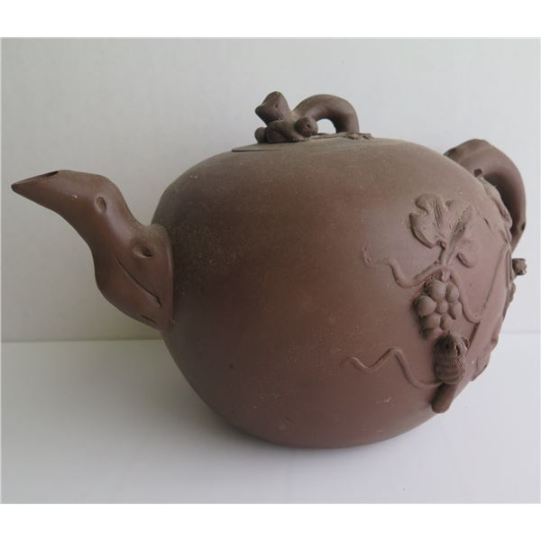 """Chinese Yixing Clay Teapot, Floral Pattern Terracotta 8"""" Tall"""