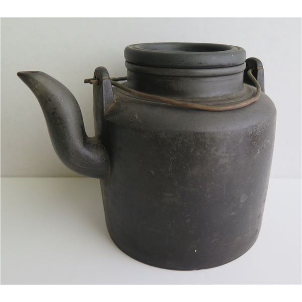 """Chinese Clay Teapot, Cylinder Brown 5.5""""Tall"""