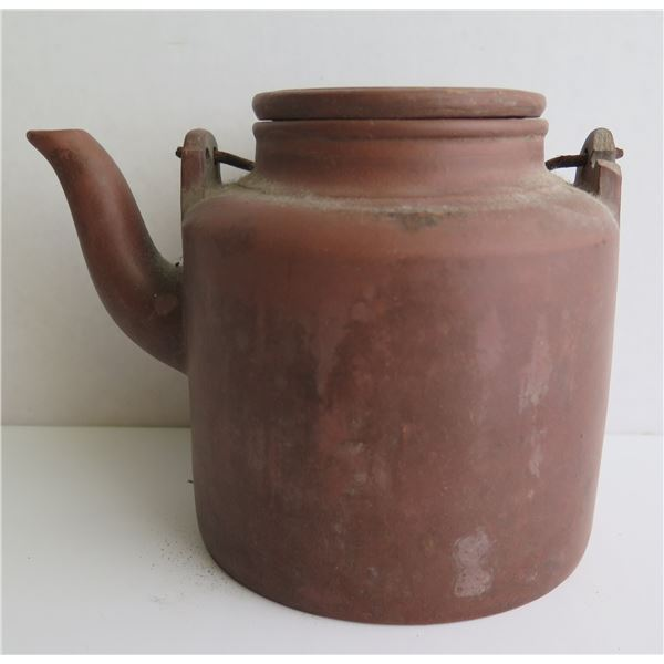 """Chinese Yixing Clay Teapot w/ Metal Handle, Terracotta, Maker's Mark, 5.5"""" Tall"""