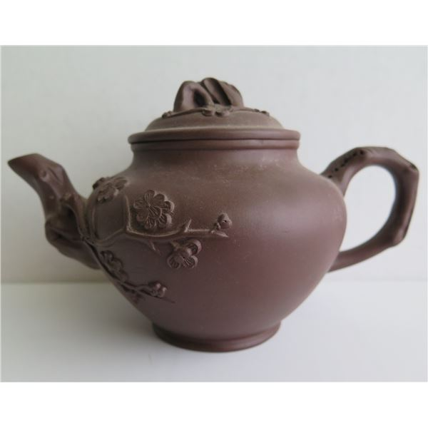 """Chinese Yixing Clay Teapot, Floral Pattern Brown 5"""" Tall"""