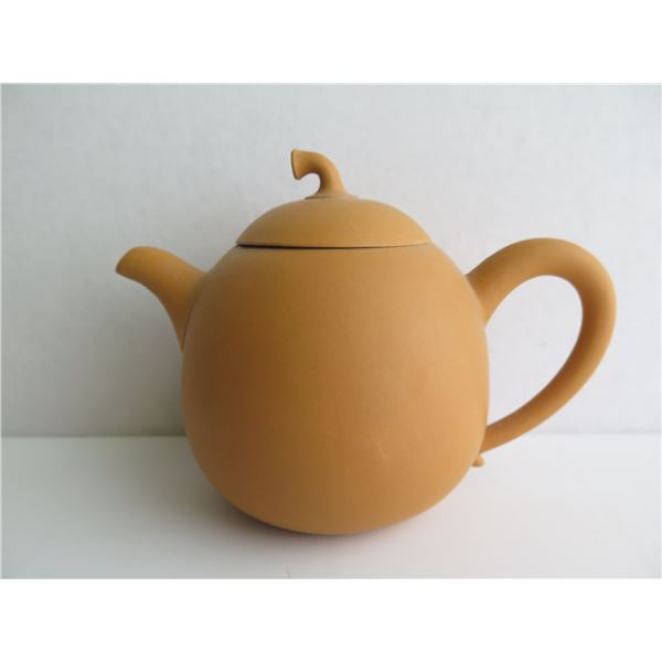 """Chinese Yixing Clay Teapot, Yellow Maker's Mark  4.5"""" Tall"""
