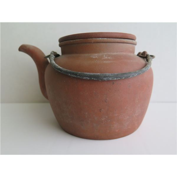 """Chinese Clay Teapot w/Metal Handle, Terracotta, Maker's Mark, 5"""" Tall"""