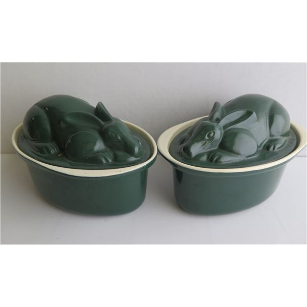 """Qty 2 Ceramic Rabbit Terrine, Oval, Green, 5"""" Tall"""