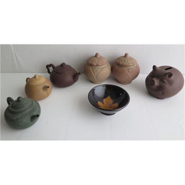 Qty 7 Misc. 3 Ceramic Teapots, Piggy Bank, Bowl & Covered Jars