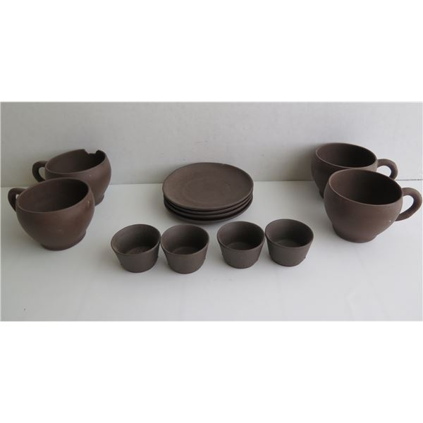 Qty 12 Ceramic Cups Rice Bowls & Small Plates, Brown, 1 Cup Chipped, Maker's Mark