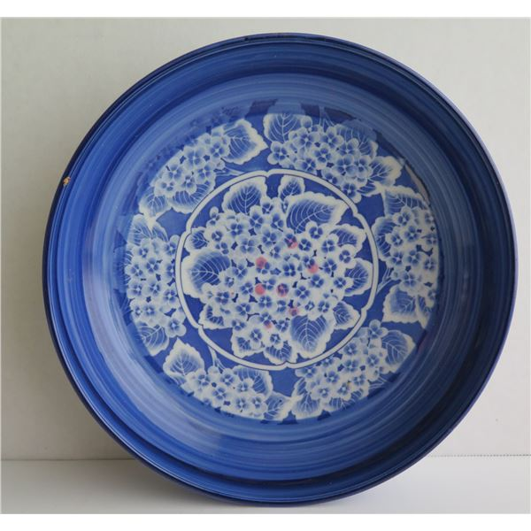 "Japanese Ceramic Shallow Bowl, Blue & White 9.75"" Dia"