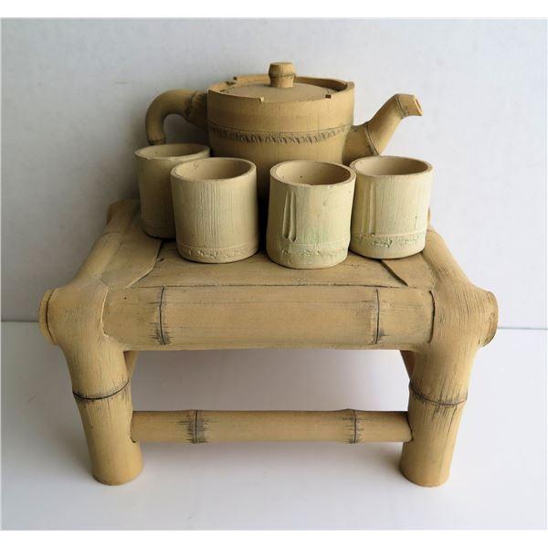 "Qty 6 Bamboo Tea Set w/ Stand, Maker's Mark, 6.5"" Tall"