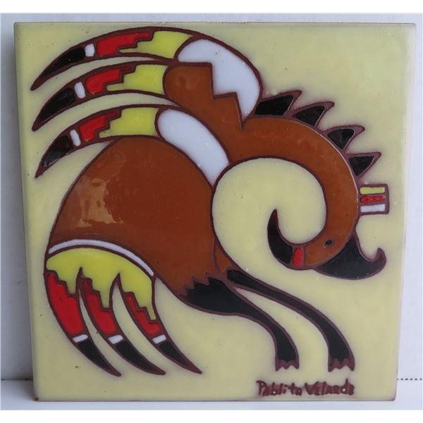 """Pueblo Ceramic Tile, Pablita Velarde Signed 6"""" W"""