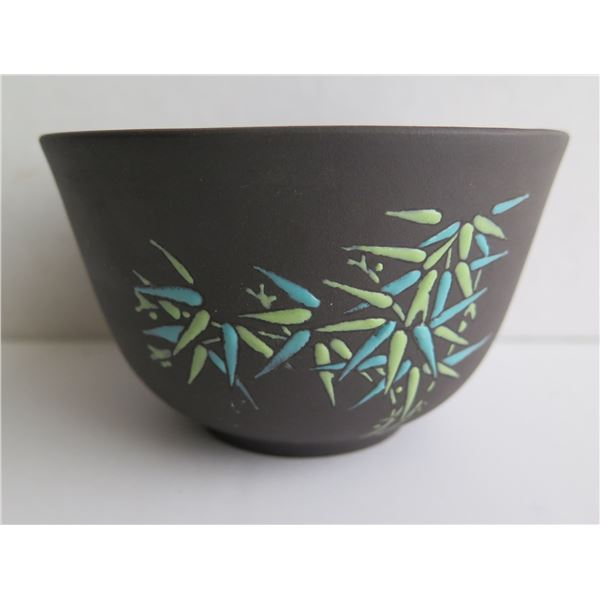 "Chinese Clay Bowl, Black w/Green & Aqua Bamboo Motif 2.75"" Tall"