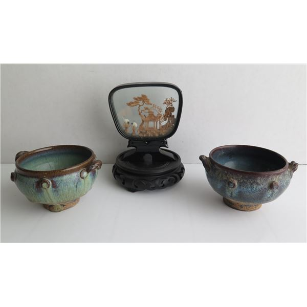 Qty 3 Chinese Ceramic Bowls & Hand Carved Cork Diorama in Case w/Wooden Stand