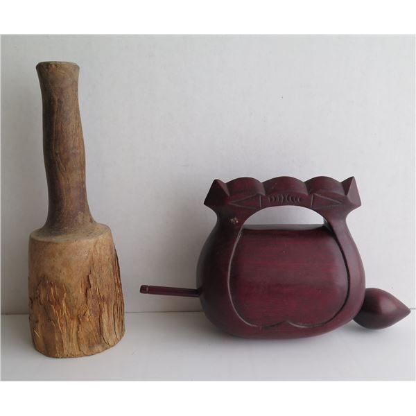 Qty 2 Chinese Musical Instruments, Muyu w/ Wooden Stick