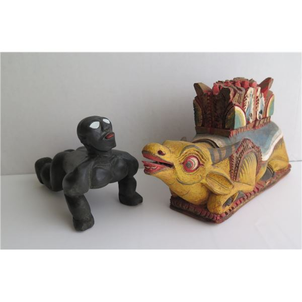 Qty 2 Wooden Figurines, Man on Knees, Black,  Wooden Colored Ox Covered Box