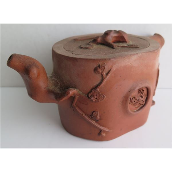 Chinese Yixing Clay Teapot w/ Raised Cherry Blossom Motif Maker's Mark