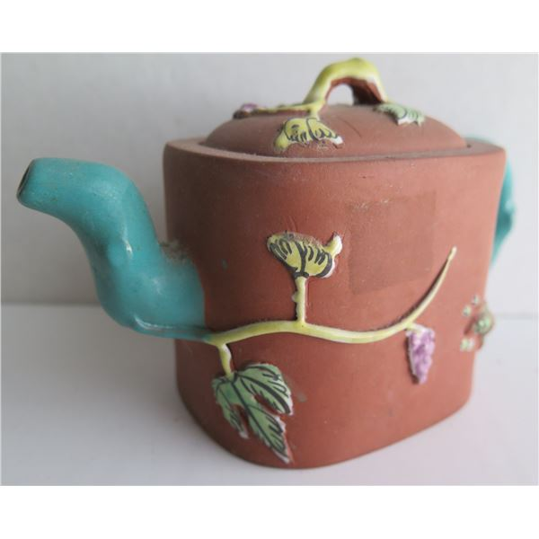 """Chinese Yixing Clay Teapot w/ Glazed Leaf Design Maker's Mark 4"""" Tall"""
