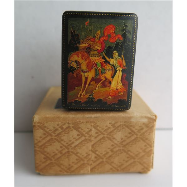 "Russian Lacquered Trinket Box, Rectangular, 1.25"" W"