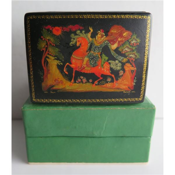 """Russian Lacquered Trinket Box, Rectangular Hand Painted w/Authentication 3"""" W"""