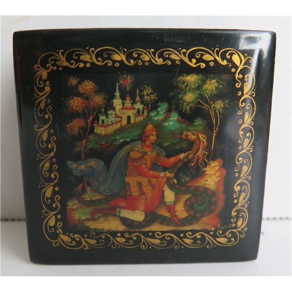 """Russian Lacquered Trinket Box, Square Hinged Lid  2.5""""x 2.5"""""""