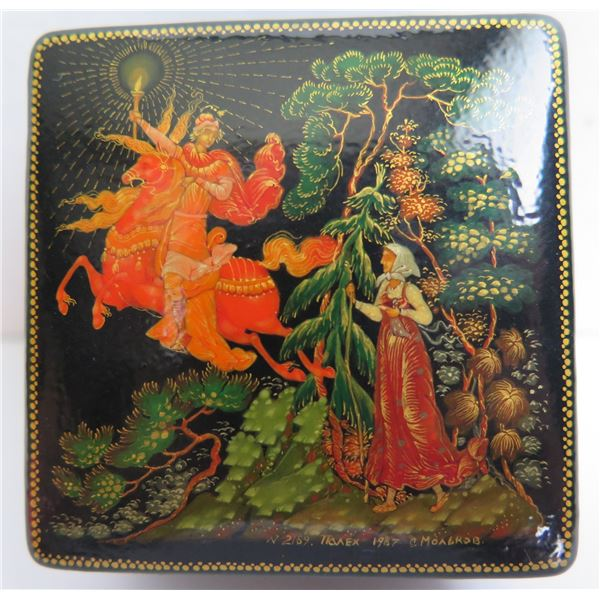 Russian Lacquered Trinket Box, Square  Painted w/Authentication