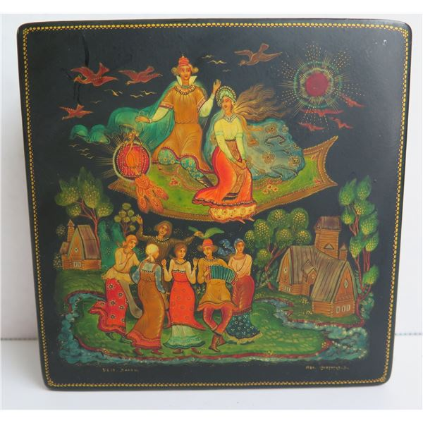 """Russian Lacquered Trinket Box, Square Hinged Lid Hand Painted w/ Authentication 4.75"""" W"""