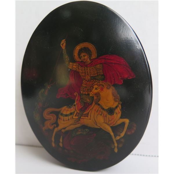 """Russian Lacquered Trinket Box, Oval  4.5"""" W"""