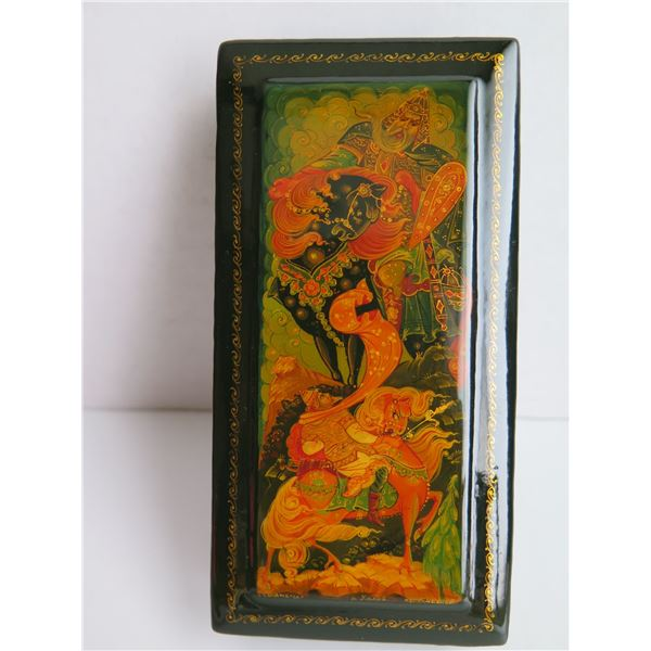 """Russian Lacquer Jewelry Box, Rectangular Hinged Lid Hand Painted Signed 6.25""""W"""